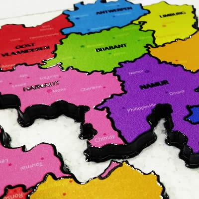Impression Grand Format - My Colors - map belgique - verniz embossage