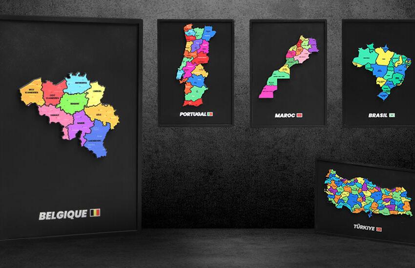 Cadres décoratifs cartes nom des pays - découpe laser - My Colors